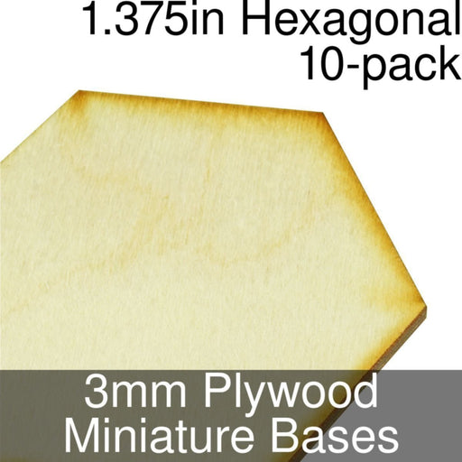Miniature Bases, Hexagonal, 1.375inch, 3mm Plywood (10) - LITKO Game Accessories