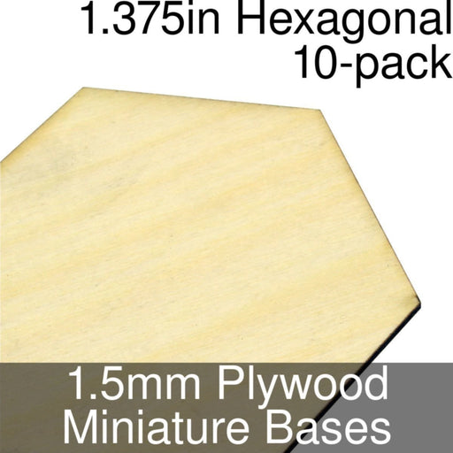 Miniature Bases, Hexagonal, 1.375inch, 1.5mm Plywood (10) - LITKO Game Accessories
