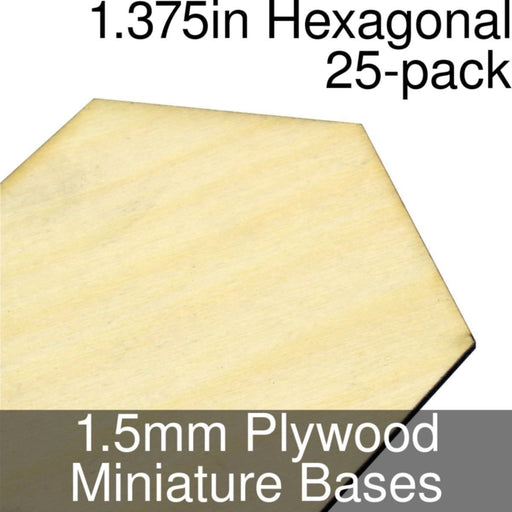 Miniature Bases, Hexagonal, 1.375inch, 1.5mm Plywood (25) - LITKO Game Accessories