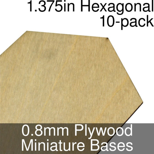Miniature Bases, Hexagonal, 1.375inch, 0.8mm Plywood (10) - LITKO Game Accessories
