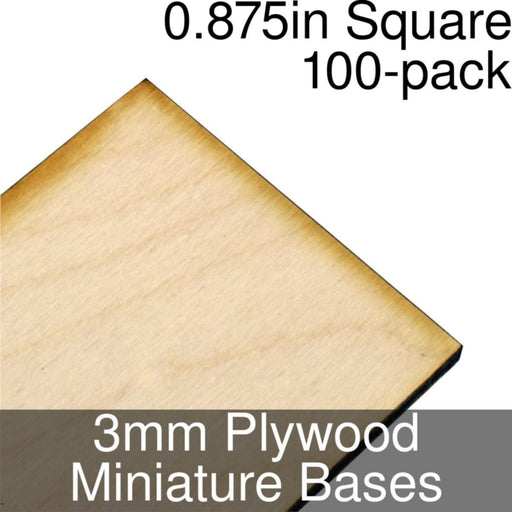 Miniature Bases, Square, 0.875inch, 3mm Plywood (100) - LITKO Game Accessories