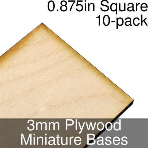 Miniature Bases, Square, 0.875inch, 3mm Plywood (10) - LITKO Game Accessories