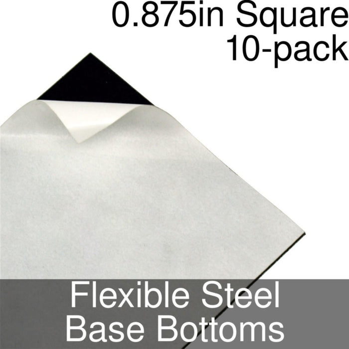 Miniature Base Bottoms, Square, 0.875inch, Flexible Steel (10) - LITKO Game Accessories