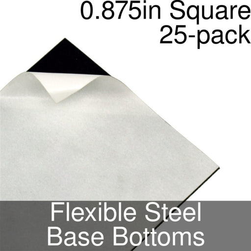 Miniature Base Bottoms, Square, 0.875inch, Flexible Steel (25) - LITKO Game Accessories