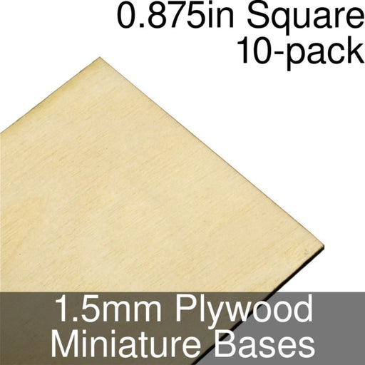 Miniature Bases, Square, 0.875inch, 1.5mm Plywood (10) - LITKO Game Accessories