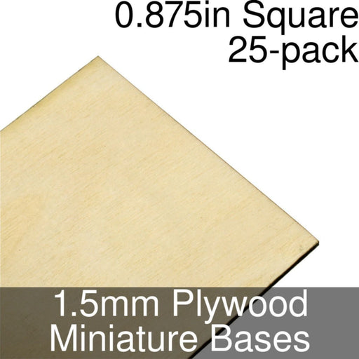 Miniature Bases, Square, 0.875inch, 1.5mm Plywood (25) - LITKO Game Accessories