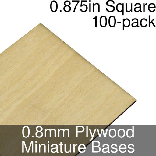 Miniature Bases, Square, 0.875inch, 0.8mm Plywood (100) - LITKO Game Accessories