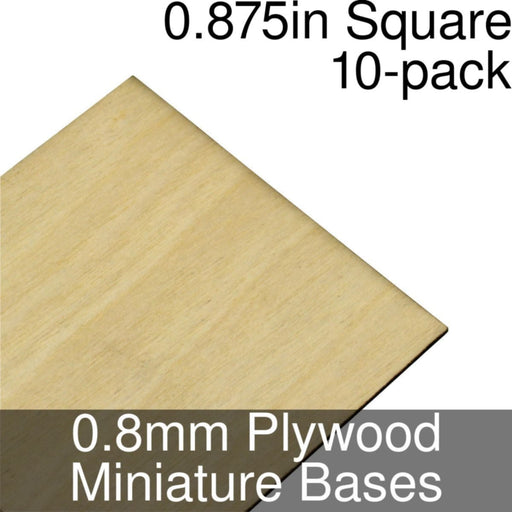 Miniature Bases, Square, 0.875inch, 0.8mm Plywood (10) - LITKO Game Accessories