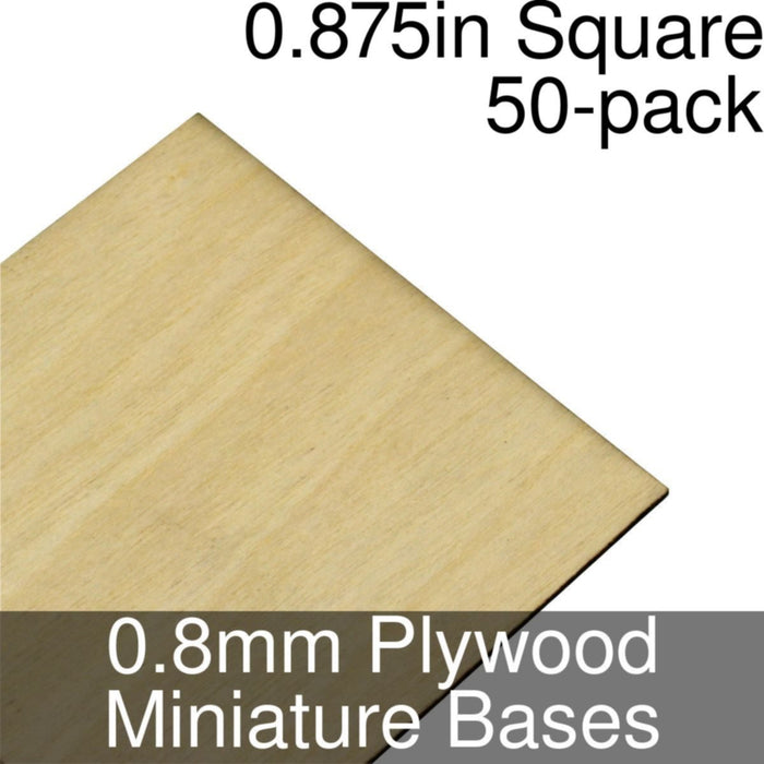 Miniature Bases, Square, 0.875inch, 0.8mm Plywood (50) - LITKO Game Accessories