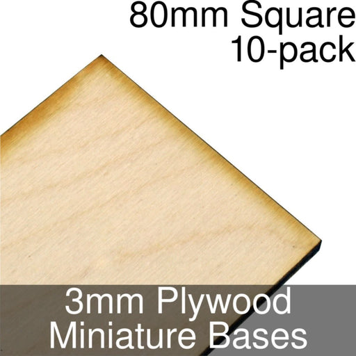 Miniature Bases, Square, 80mm, 3mm Plywood (10) - LITKO Game Accessories