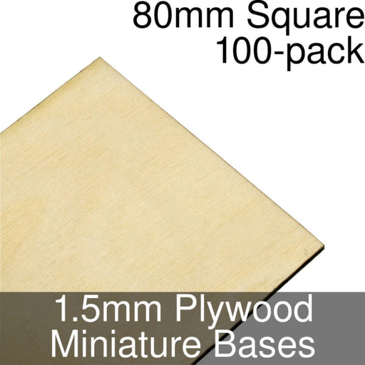 Miniature Bases, Square, 80mm, 1.5mm Plywood (100) - LITKO Game Accessories