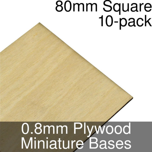 Miniature Bases, Square, 80mm, 0.8mm Plywood (10) - LITKO Game Accessories