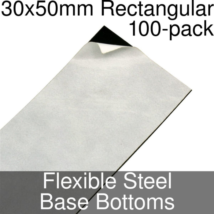 Miniature Base Bottoms, Rectangular, 30x50mm, Flexible Steel (100) - LITKO Game Accessories