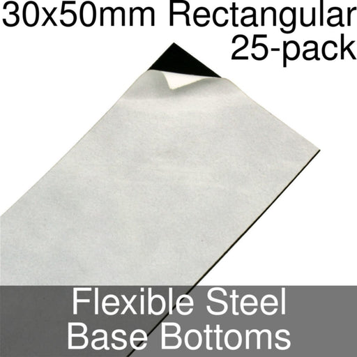 Miniature Base Bottoms, Rectangular, 30x50mm, Flexible Steel (25) - LITKO Game Accessories
