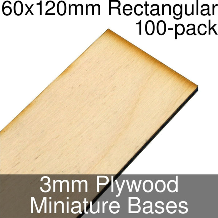 Miniature Bases, Rectangular, 60x120mm, 3mm Plywood (100) - LITKO Game Accessories