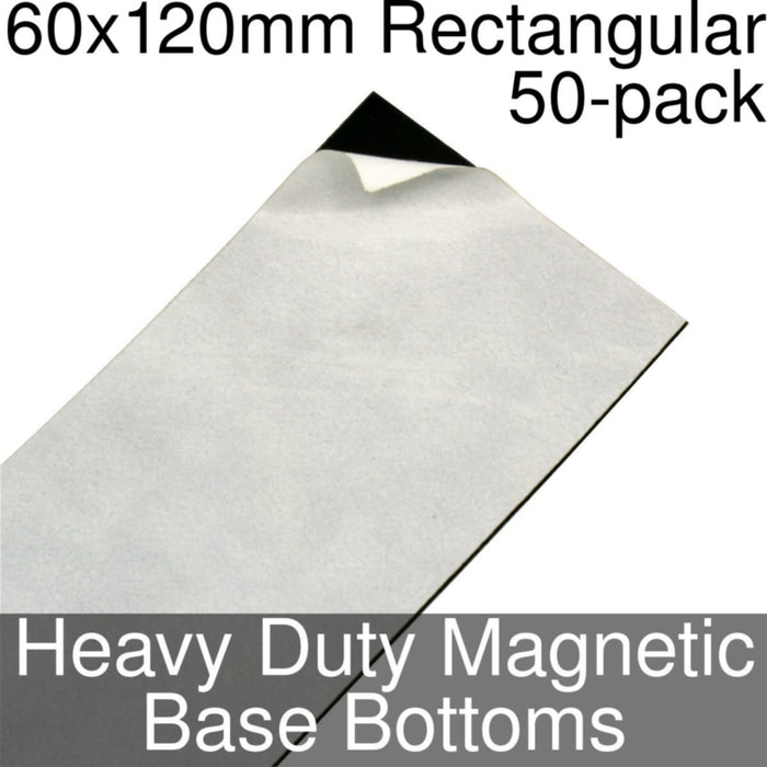 Miniature Base Bottoms, Rectangular, 60x120mm, Heavy Duty Magnet (50) - LITKO Game Accessories