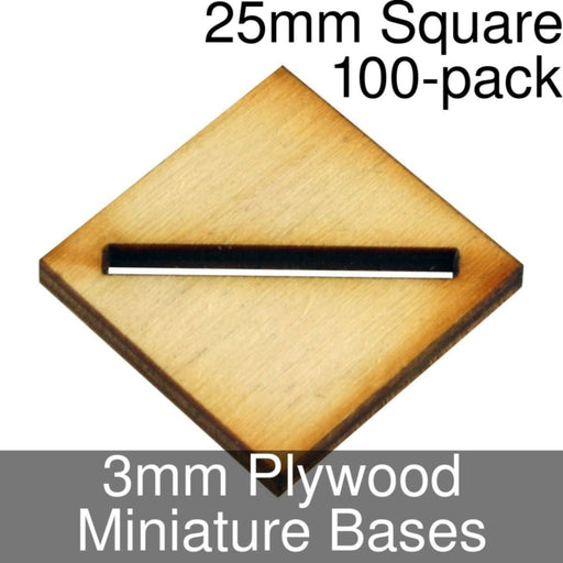 Miniature Bases, Square, 25mm (Diagonal Slotted), 3mm Plywood (100) - LITKO Game Accessories