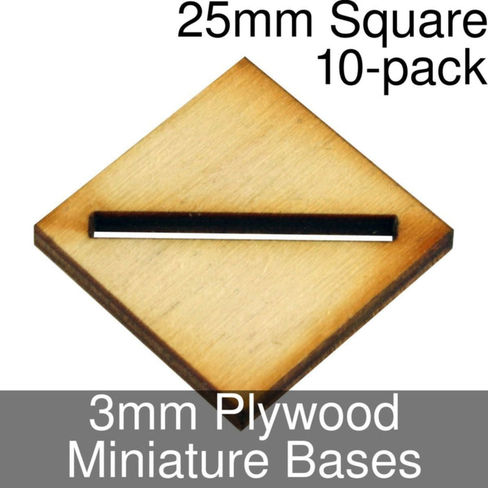 Miniature Bases, Square, 25mm (Diagonal Slotted), 3mm Plywood (10) - LITKO Game Accessories