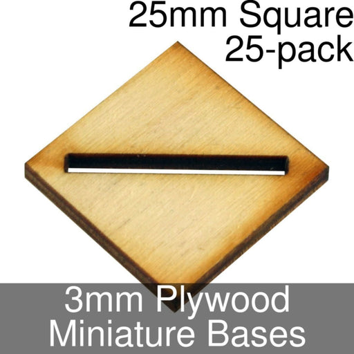 Miniature Bases, Square, 25mm (Diagonal Slotted), 3mm Plywood (25) - LITKO Game Accessories