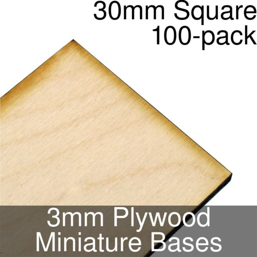 Miniature Bases, Square, 30mm, 3mm Plywood (100) - LITKO Game Accessories