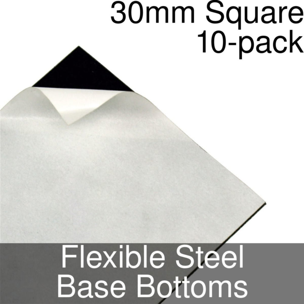Miniature Base Bottoms, Square, 30mm, Flexible Steel (10) - LITKO Game Accessories