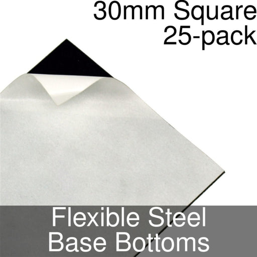 Miniature Base Bottoms, Square, 30mm, Flexible Steel (25) - LITKO Game Accessories