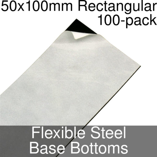 Miniature Base Bottoms, Rectangular, 50x100mm, Flexible Steel (100) - LITKO Game Accessories