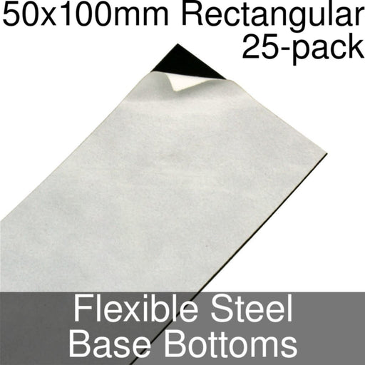 Miniature Base Bottoms, Rectangular, 50x100mm, Flexible Steel (25) - LITKO Game Accessories