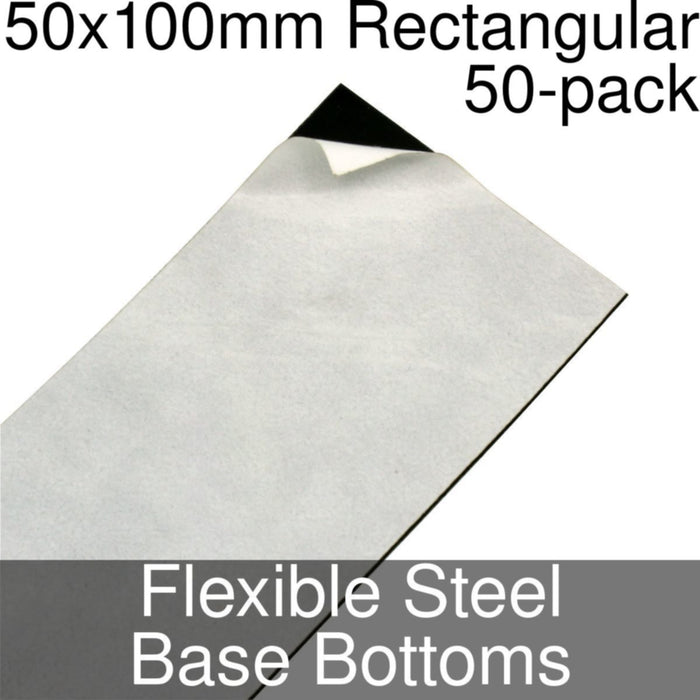 Miniature Base Bottoms, Rectangular, 50x100mm, Flexible Steel (50) - LITKO Game Accessories