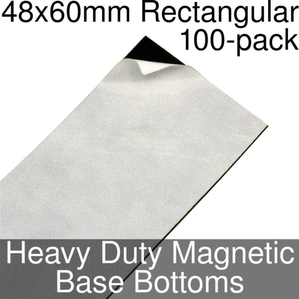 Miniature Base Bottoms, Rectangular, 48x60mm, Heavy Duty Magnet (100) - LITKO Game Accessories