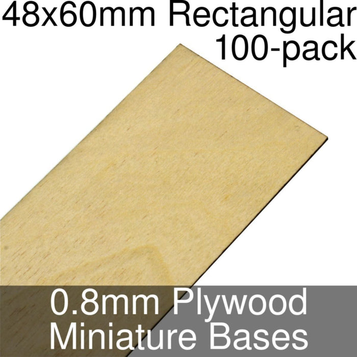 Miniature Bases, Rectangular, 48x60mm, 0.8mm Plywood (100) - LITKO Game Accessories