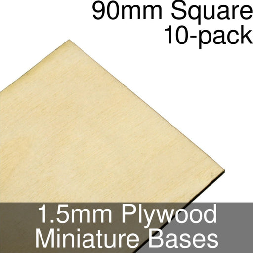 Miniature Bases, Square, 90mm, 1.5mm Plywood (10) - LITKO Game Accessories
