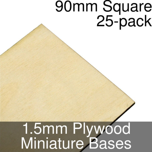 Miniature Bases, Square, 90mm, 1.5mm Plywood (25) - LITKO Game Accessories