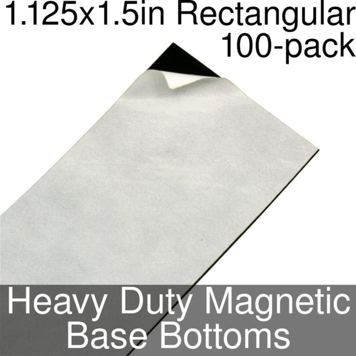 Miniature Base Bottoms, Rectangular, 1.125x1.5inch, Heavy Duty Magnet (100) - LITKO Game Accessories