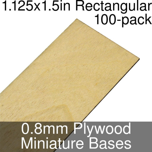 Miniature Bases, Rectangular, 1.125x1.5inch, 0.8mm Plywood (100) - LITKO Game Accessories