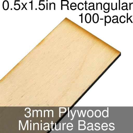 Miniature Bases, Rectangular, 0.5x1.5inch, 3mm Plywood (100) - LITKO Game Accessories