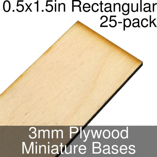 Miniature Bases, Rectangular, 0.5x1.5inch, 3mm Plywood (25) - LITKO Game Accessories