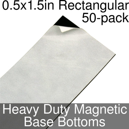 Miniature Base Bottoms, Rectangular, 0.5x1.5inch, Heavy Duty Magnet (50) - LITKO Game Accessories