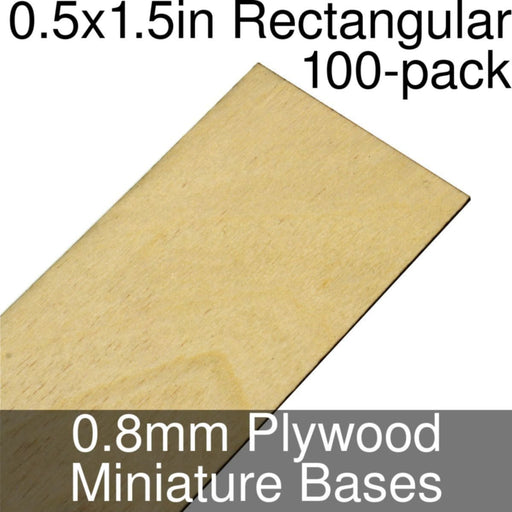 Miniature Bases, Rectangular, 0.5x1.5inch, 0.8mm Plywood (100) - LITKO Game Accessories