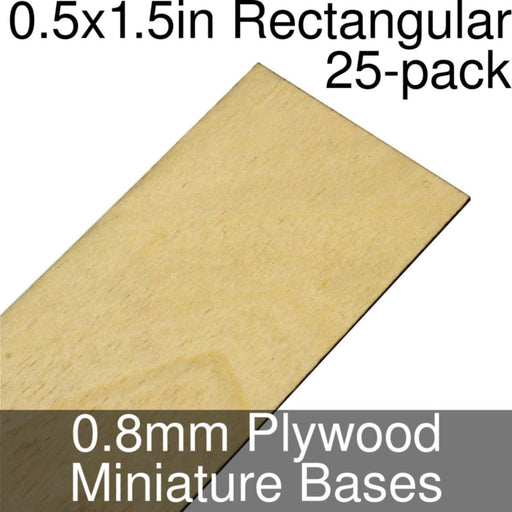 Miniature Bases, Rectangular, 0.5x1.5inch, 0.8mm Plywood (25) - LITKO Game Accessories