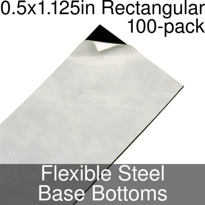 Miniature Base Bottoms, Rectangular, 0.5x1.125inch, Flexible Steel (100) - LITKO Game Accessories
