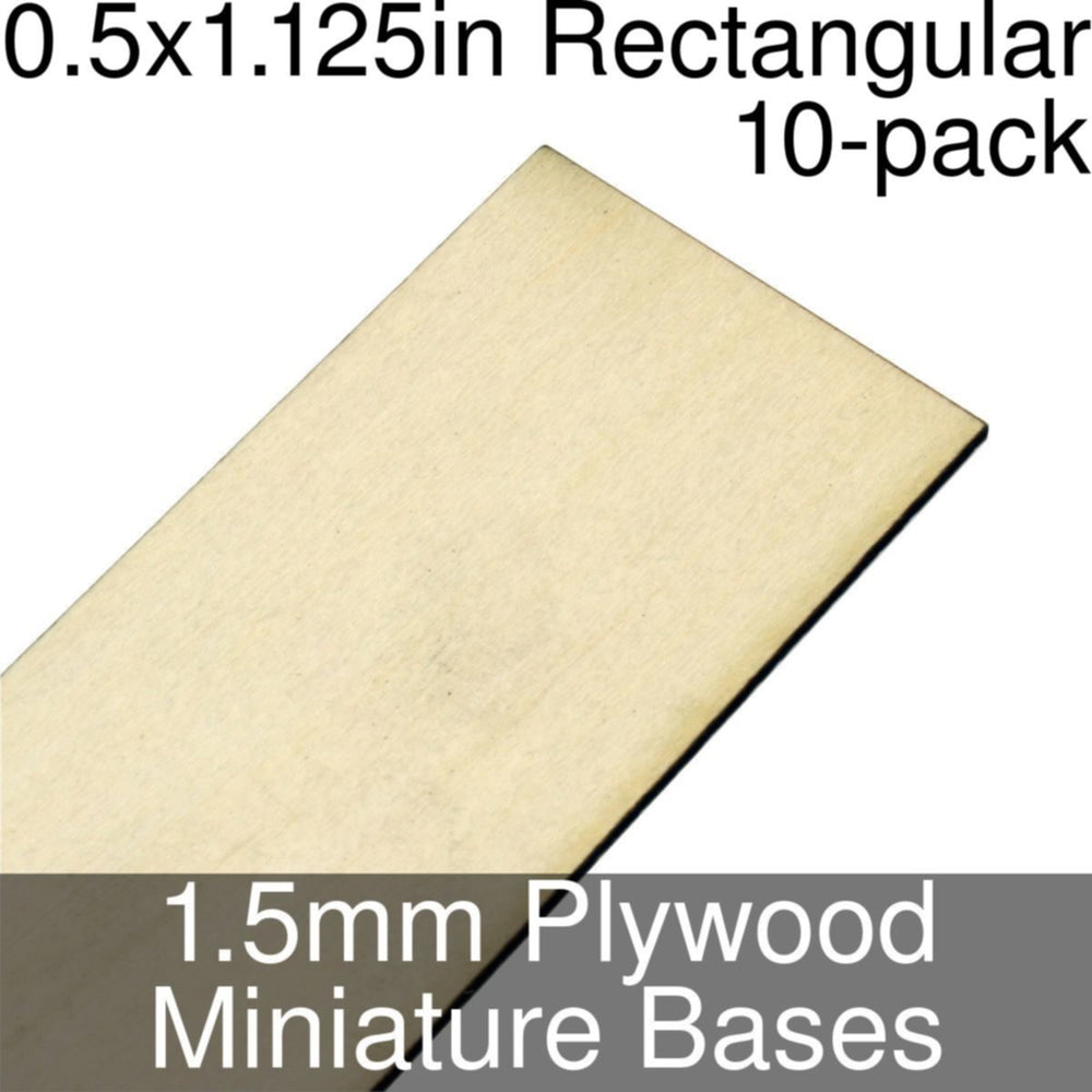 Miniature Bases, Rectangular, 0.5x1.125inch, 1.5mm Plywood (10) - LITKO Game Accessories