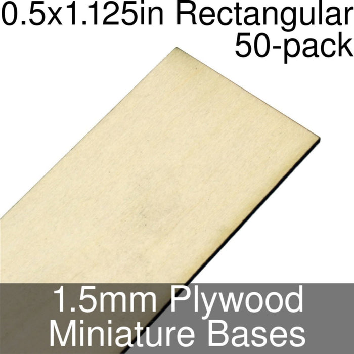 Miniature Bases, Rectangular, 0.5x1.125inch, 1.5mm Plywood (50) - LITKO Game Accessories