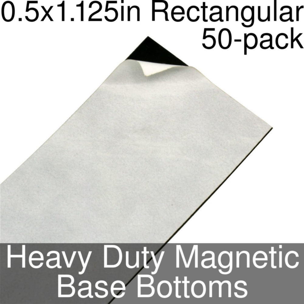 Miniature Base Bottoms, Rectangular, 0.5x1.125inch, Heavy Duty Magnet (50) - LITKO Game Accessories