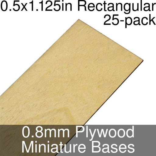 Miniature Bases, Rectangular, 0.5x1.125inch, 0.8mm Plywood (25) - LITKO Game Accessories