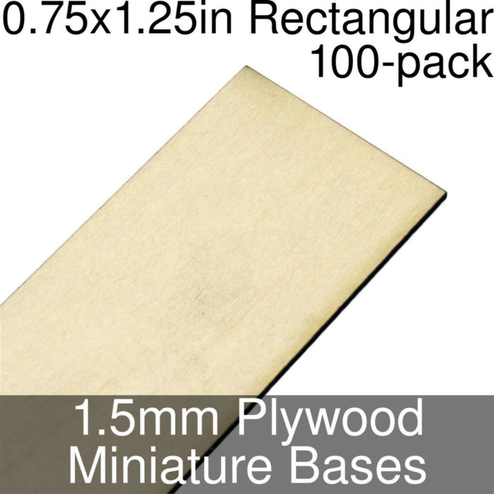Miniature Bases, Rectangular, 0.75x1.25inch, 1.5mm Plywood (100) - LITKO Game Accessories