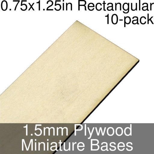 Miniature Bases, Rectangular, 0.75x1.25inch, 1.5mm Plywood (10) - LITKO Game Accessories