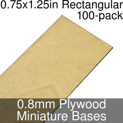 Miniature Bases, Rectangular, 0.75x1.25inch, 0.8mm Plywood (100) - LITKO Game Accessories