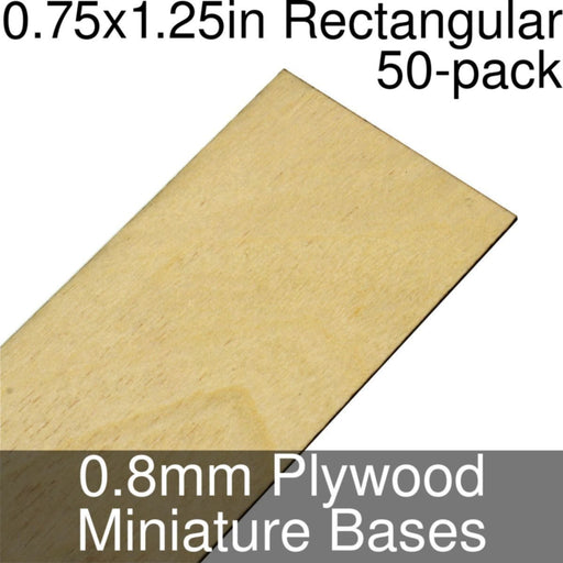 Miniature Bases, Rectangular, 0.75x1.25inch, 0.8mm Plywood (50) - LITKO Game Accessories