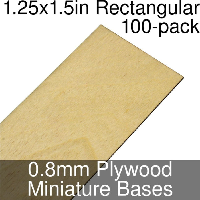 Miniature Bases, Rectangular, 1.25x1.5inch, 0.8mm Plywood (100) - LITKO Game Accessories